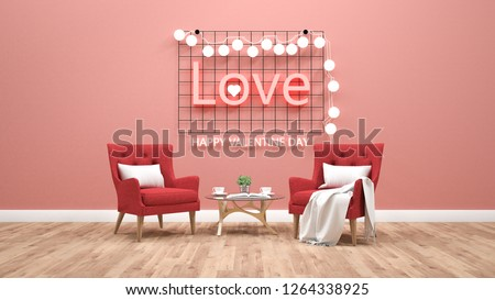 Valentines day theme with light text on wall. 3d rendering #1264338925