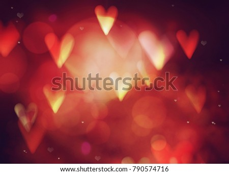 Valentines day. Valentines  abstract background with hearts and bokeh. Love red background. Valentines day glittering lights #790574716