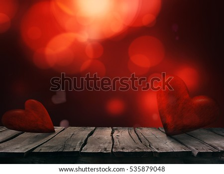 Valentines day. Valentines background with table and bokeh. Love red background. Valentines day empty display #535879048