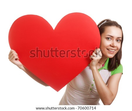 Valentines Day. Woman holding Valentines Day heart sign with copy space