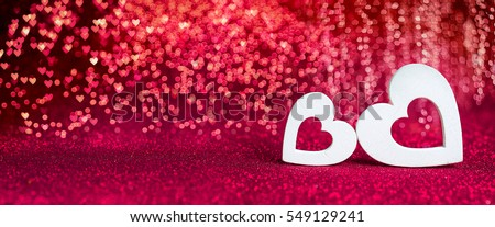 Valentines Day - Wooden Hearts On Red Shiny Background #549129241
