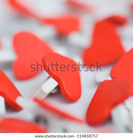 Valentines decoration of many red hearts.