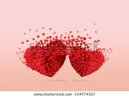 Valentines hearts. Connecting Decorative heart background with lot of valentines hearts.  #554974567
