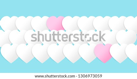 Valentines hearts for cover site, mail postcard. Paper elements on blue background. Symbols of love in shape of heart for Happy Women's, Mother's, Valentine's Day, birthday greeting card design