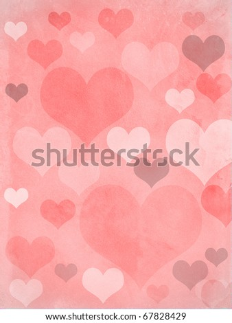 valentines hearts in pink, with a grungy background texture