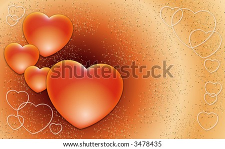 Valentines hearts on a sweet background