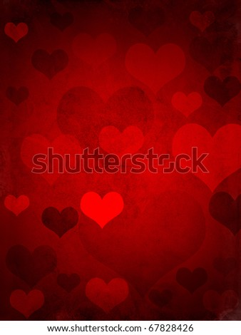 valentines hearts, with a grungy background texture