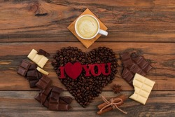Valentines holiday background with coffee and chocolate.