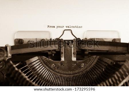Valentines message type on old typewriter