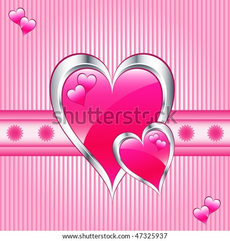or mothers day pink hearts symbolizing love. Striped pink background ...
