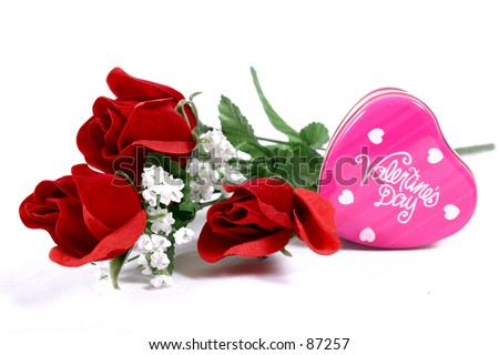 Valentines Roses and Tin Heart