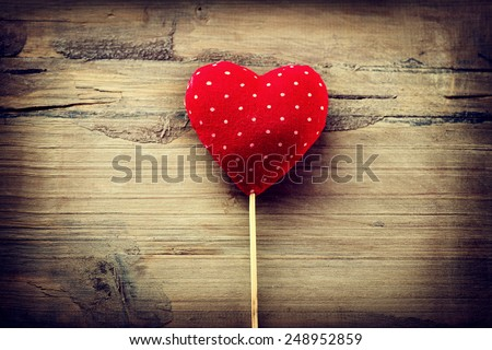 Valentines Vintage Handmade Heart over Wooden Background. Valentine over Wood. Retro Styled Wallpaper. Valentine\'s Day