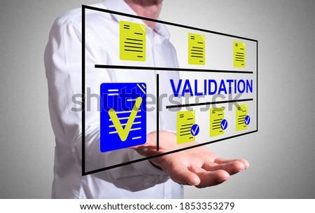 Validation concept levitating above a human hand Photo stock ©