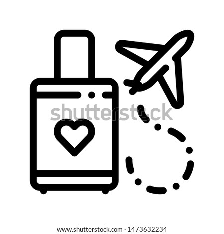 Valise And Airplane Honeymoon Trip Icon Thin Line. Valise With Love Symbol Heart Linear Pictogram. Party Preparation And Marriage Template Monochrome Contour Concept Illustration