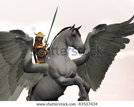 Valkyrie mythological Norse warrior maiden on winged horse