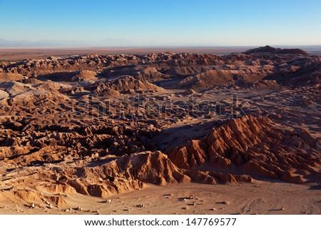 Valle de la Luna (Valley of the Moon) is located 13 kilometres (8 mi) west of San Pedro de Atacama, Chile in the Cordillera de la Sal, in the Atacama desert of Chile.