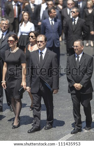 VALLETTA, MALTA - AUG 25 - Deputy leaders from the Malta Labour Party during the state funeral of former Prime Minister Dom Mintoff in Valletta on 25 August 2012