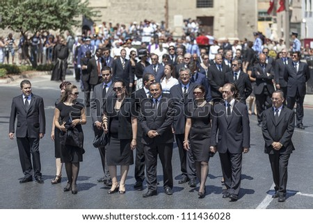 VALLETTA, MALTA - AUG 25 - Deputy leaders from the Malta LApour Party during the state funeral of former Prime Minister of Malta Dom MIntoff in Valletta on 25 August 2012