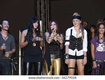 VALLETTA, MALTA - AUG 29 - Kristina Casolani, Ira Losco and Sophie during the Michael Jackson Tribute Concert organised by Xfm radio station at The Valletta Waterfront 29th August 2009