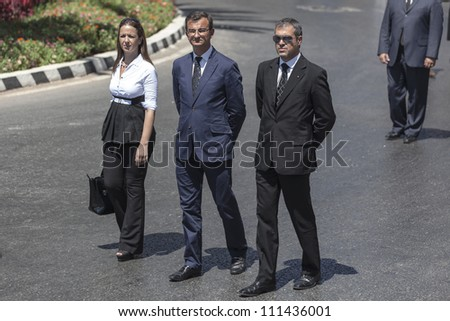VALLETTA, MALTA - AUG 25 - NAtionalist Party or PN General Secretary Paul Borg Olivier during the state funeral of former Prime Minister Dom MIntoff in Valletta on 25 August 2012
