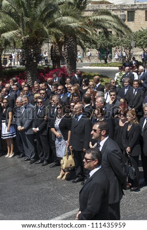 VALLETTA, MALTA - AUG 25 - The Malta Labour Party Candidates during the state funeral of former PRime Minister Dom Mintoff in Valletta on 25 August 2012