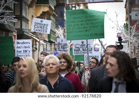 VALLETTA, MALTA - DEC 17 - Demonstrators during a rally held by Facebook group Legalize It Malta, in favour of the decriminalisation and legalisation of cannabis and hemp, on 17 December 2011