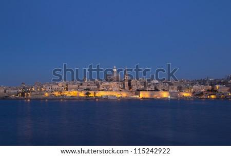 VALLETTA, MALTA - JUNE 6: Night scene of Valletta, Malta on June 6, 2012.  According to Malta´s National Statistics Office, 1.4 million tourist visited Malta in 2011. An increase of 6% from 2010.