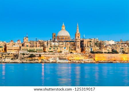 Valletta Skyline in the Evening, Malta Stock fotó ©