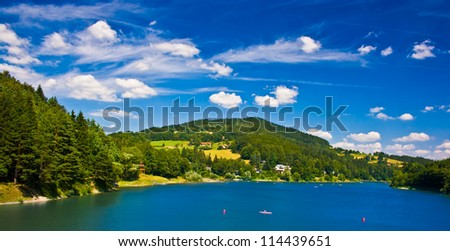 Valley dam Bystricka in Wallachia region - vibrant color