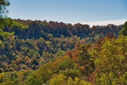 Valley during fall in buzzard roost chillicothe. Colorful trees on hillside of apalachian foothills. Orange, red, and yellow leaves on trees