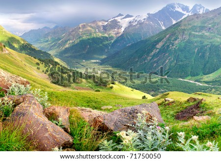 Valley in high mountain. Natural composition #71750050
