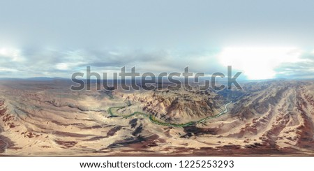 Valley of castles in Yellow Canyon Charyn. National park in East Kazakhstan Almaty region. Top aerial view from drone. Dirt road in Canyon. #1225253293