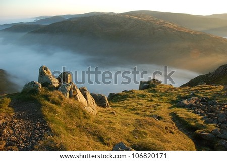 Valley of fog at the mountain top
