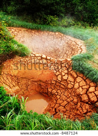 Valley of Geysers, hot mud sources - stock photo