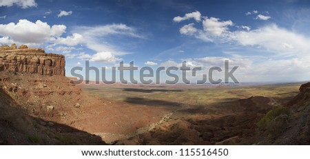 Valley Of Gods in Utah on the way to Monument Valley National Park. Panoramic view of American Southwest.