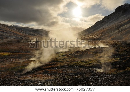 Valley of small geysers and solfataras, Iceland