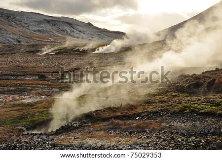 Valley of small geysers, Hveragerdi, Iceland