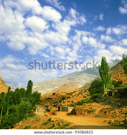 Valley of the Fann Mountains (also known as the Fanns) are part of the western Pamir-Alay mountain system and are located in Tajikistan. - stock photo