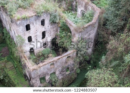 Valley of the mills (Valle dei Mulini), abandoned mills amidst undergrowth at the foot of a ravine in the centre of the old town of Sorrento on the Amalfi Coast, Italy. #1224883507