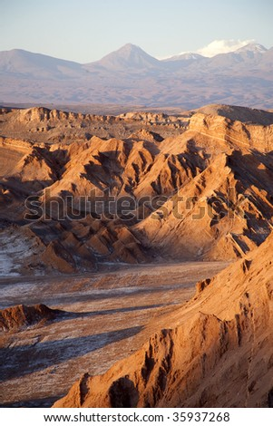 Valley of the moon in the desert near San Pedro of Atacama