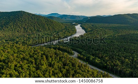 Valley Of The Mountain River Anyuy. Khabarovsk territory in the far East of Russia. The view of Anyui river is beautiful. Anyu national Park. Landscape mountain river in the Russian taiga.