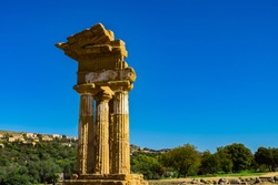Valley of the Temples, Valle dei Templi, - The Temple of Castor, an ancient Greek Temple, Agrigento, Sicily