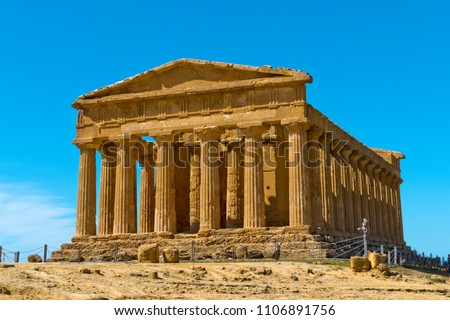 Valley of the Temples (Valle dei Templi) - The Temple of Concordia,  an ancient Greek Temple built in the 5th century BC, Agrigento, Sicily
