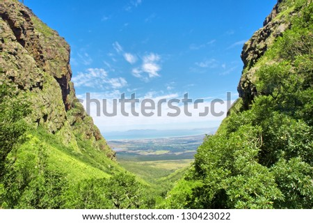 Valley on sunny day. Shot near Landdroskop, Hottentots-Holland Mountains nature reserve, near Somerset West, Western Cape, South Africa.