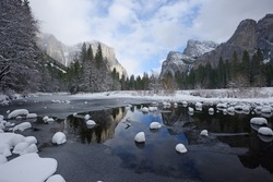 valley view at yosemite national park with fresh snow after winter storm