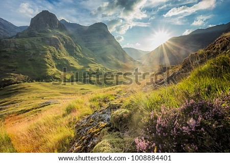 Valley view below the mountains of Glencoe, Lochaber, HIghlands, Scotland, UK - Shutterstock ID 1008884401