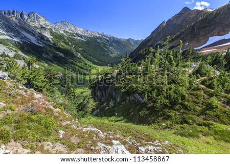 Valley view of mountains and trees