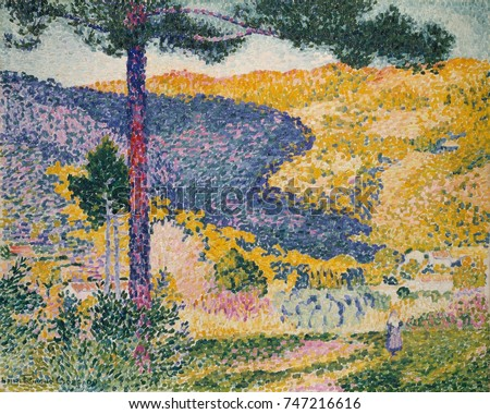 Valley with Fir , by Henri-Edmond Cross, 1909, French Neo-Impressionist. In this oil painting, the artist leaves unpainted bare canvas between the strokes