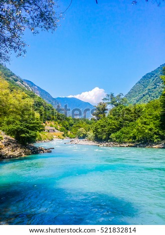 Valley with river and mountain #521832814
