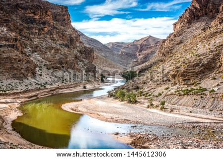 Valley with river near Midelt, Morocco by old mine village Aouli #1445612306